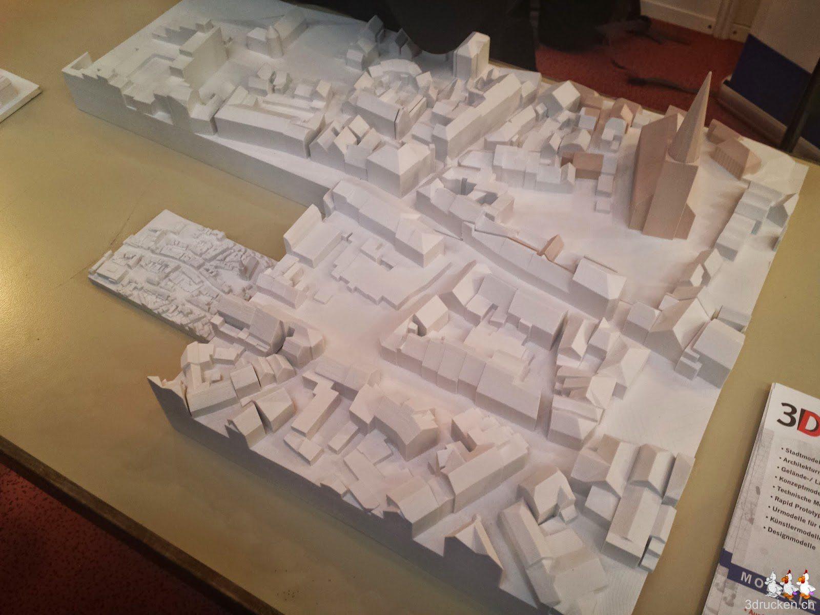 Foto einiger ungefähr A3 grossen Einzelteile eines Stadmodells am Stand des 3D-Druckshop am 3D - Forum in Lindau