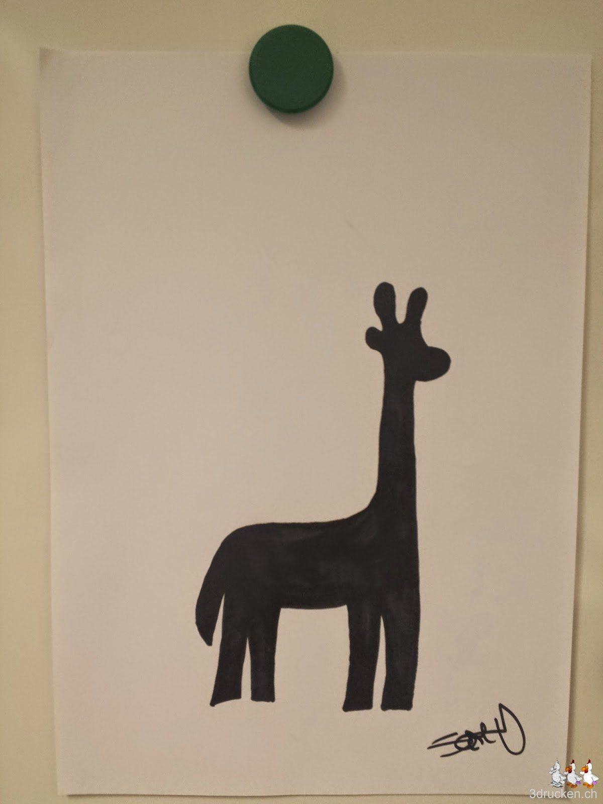 Foto des Designs einer Giraffe, welches zum Druck am ersten Kursabend von der Gruppe ausgewählt wurde