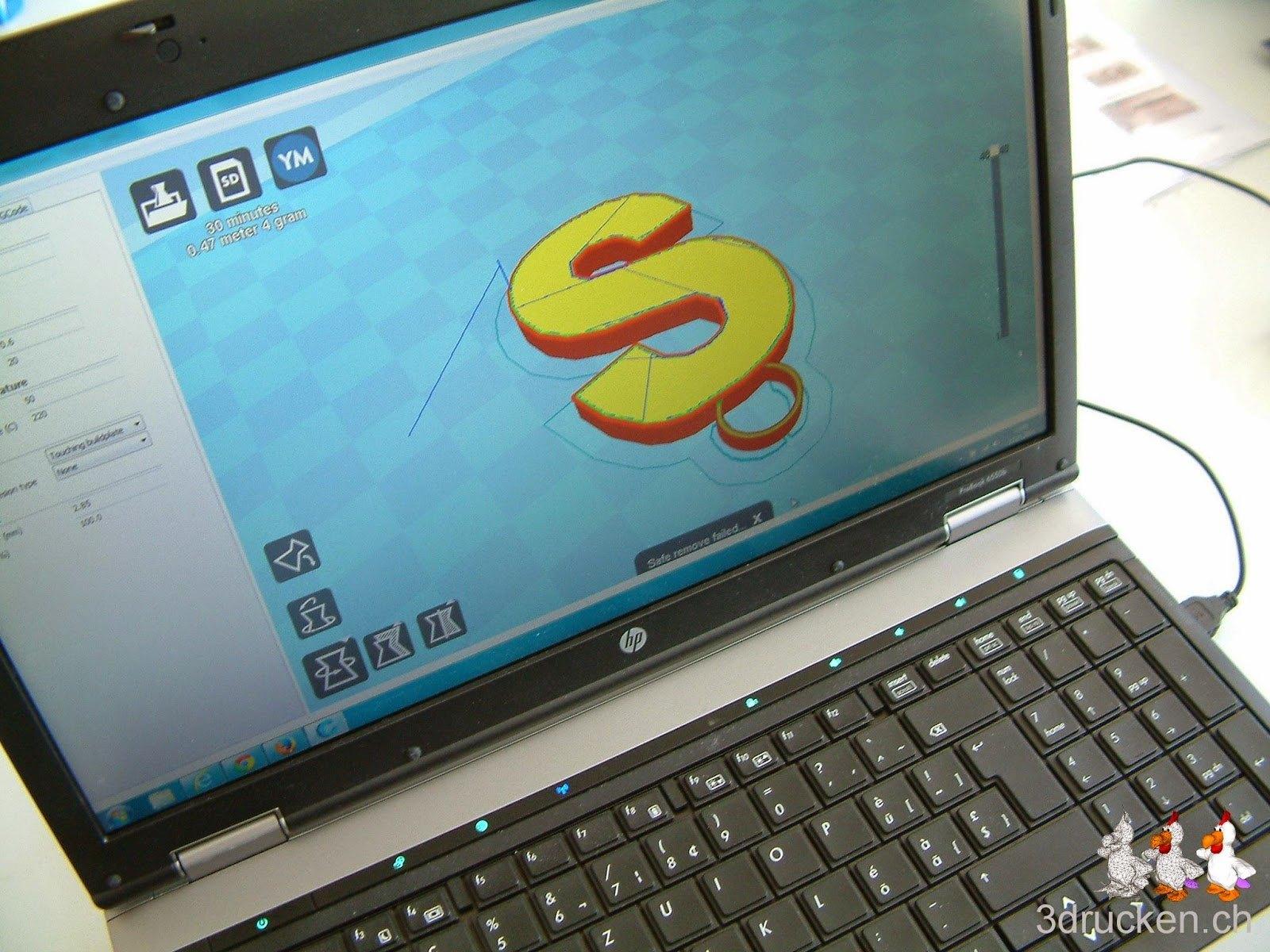 Foto eines Notebooks mit geöffnetem Cura das einen Anhänger in Form eines S zeigt