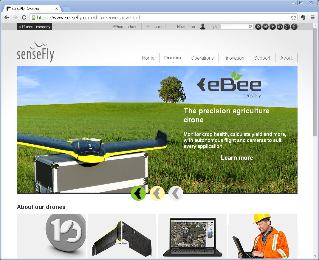 Screenshot der Webseite der Drohne eBee von senseFly