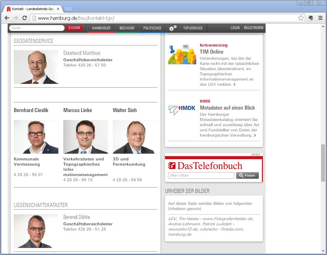 Screenshot der Webseite des Geodatenservice der Stadt Hamburg