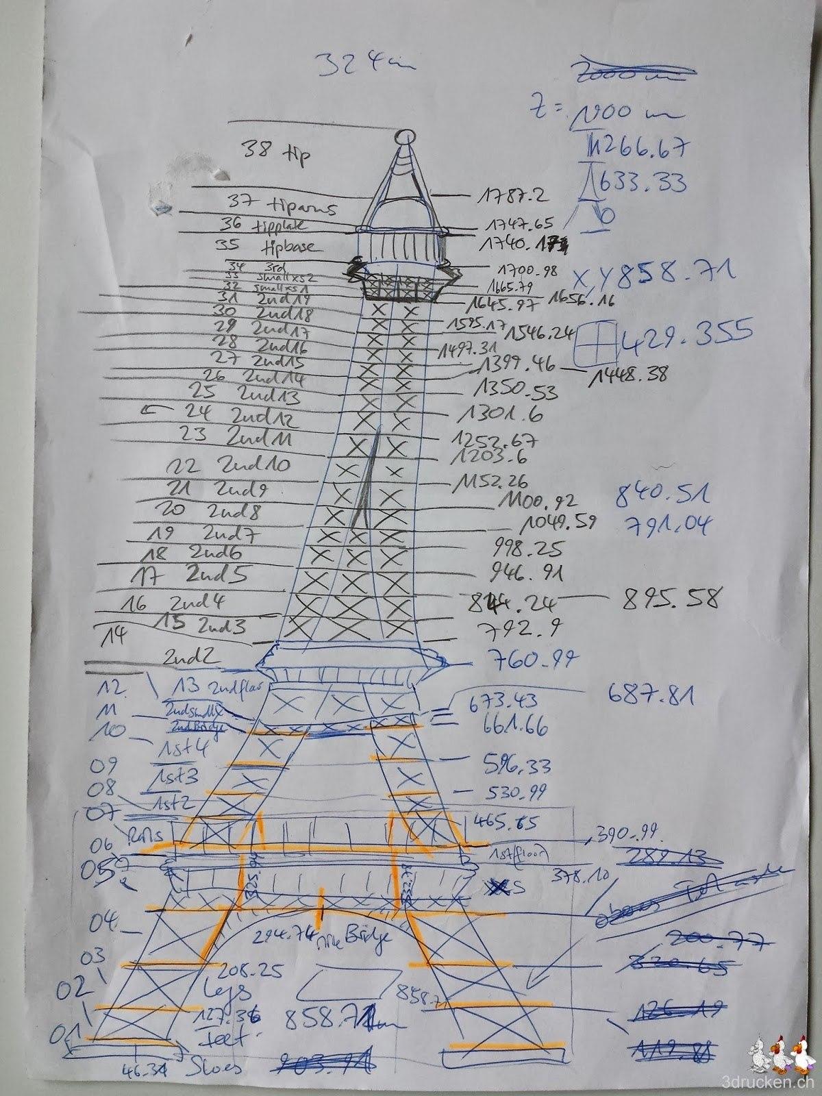 Foto der Arbeitsskizze unseres neusten Druckvorhabens mit 100 Einzelteilen
