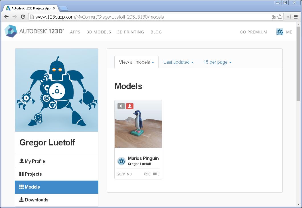 Screenshot unseres 123D Catch Profils