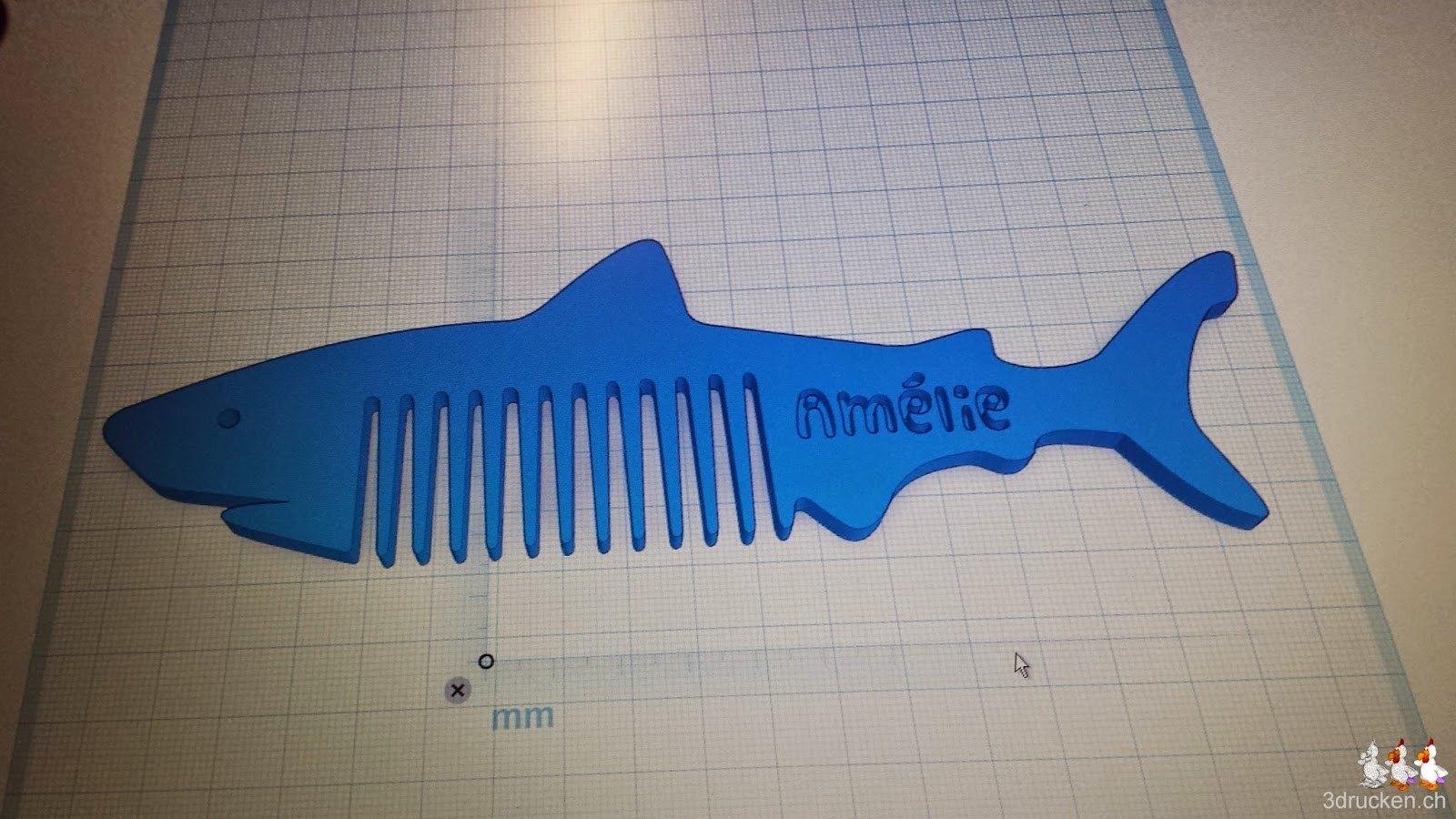 Foto des Notebookdisplays mit dem Hai in Tinkercad inklusive eingraviertem Schriftzug 'Amélie'