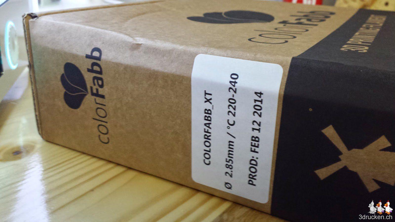 Foto der Verpackung mit dem colorFabb XT Druckmaterial