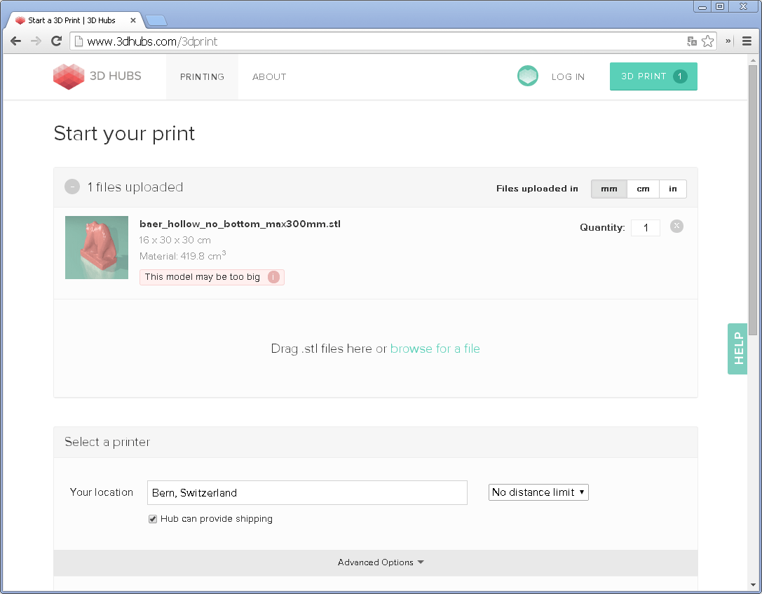 Screenshot des Uploads des Bären bei 3DHubs