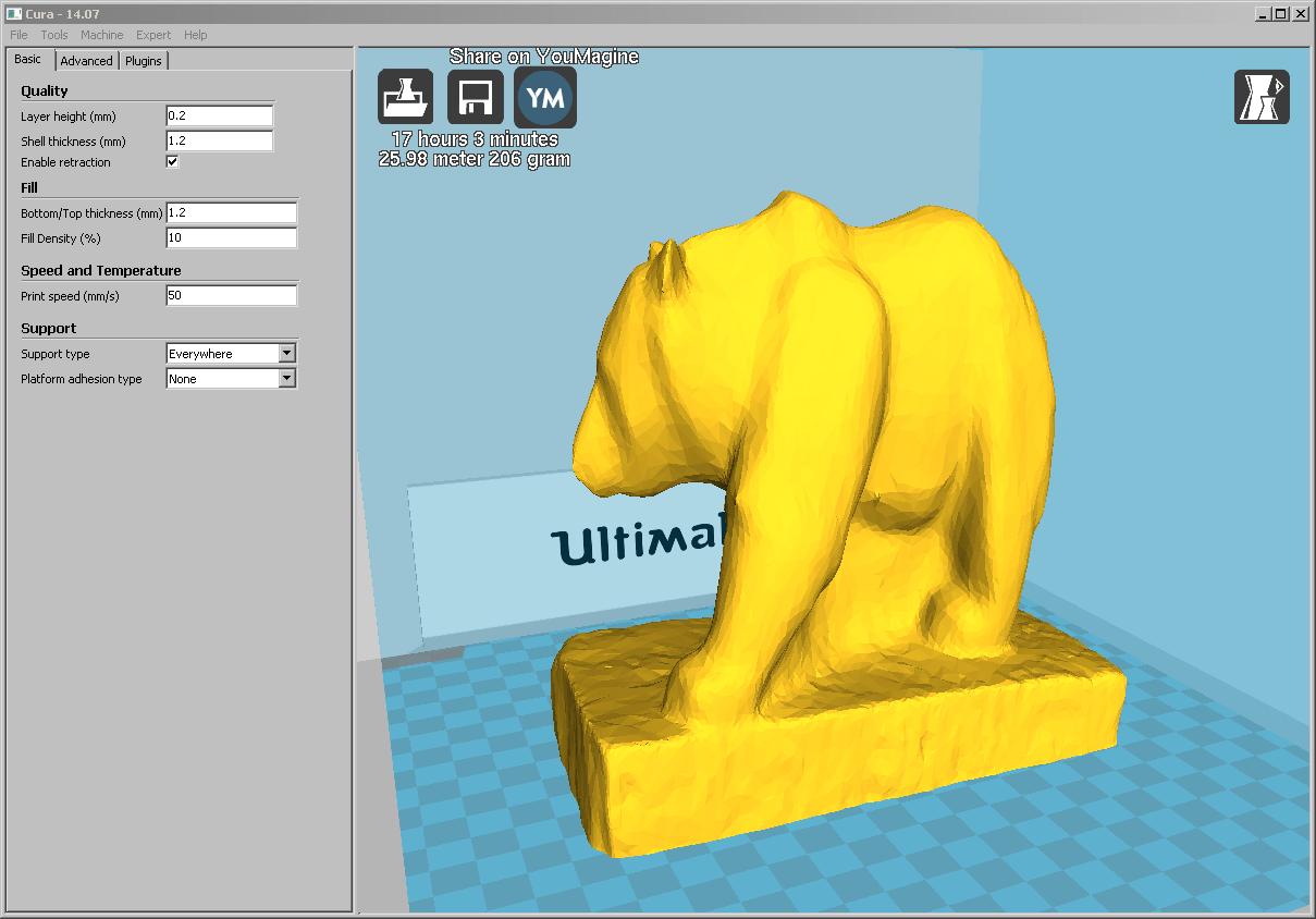 Screenshot aus Cura von der Machbarkeitsprüfung des Drucks des Bären im Massstab 1:2 auf dem Ultimaker 2