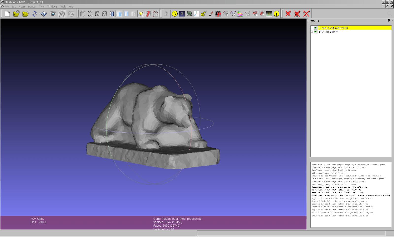 Screenshot aus Meshlab vom Aushöhlen des Bären