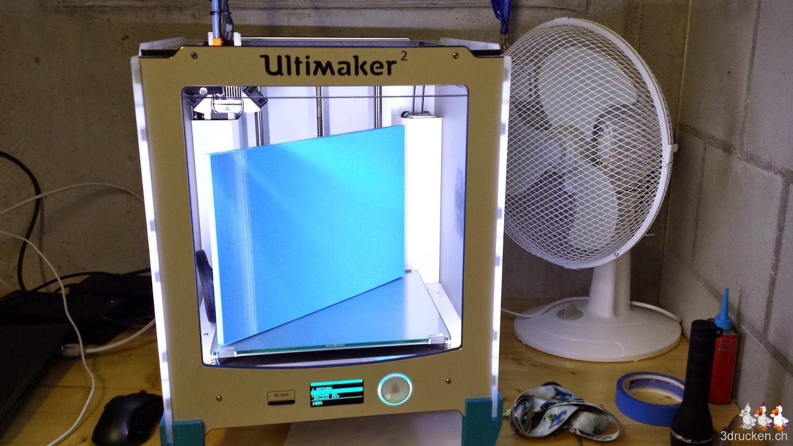 Foto des Ultimaker 2 von vorne mit maximalem Quader mit Dicke 10mm