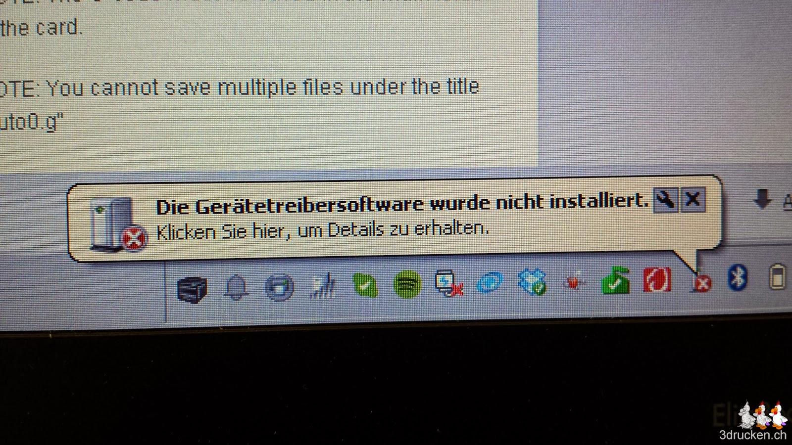 Foto der Warnmeldung Die Gerätetreibersoftware wurde nicht installiert unter Windows 7