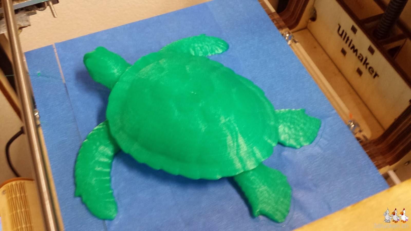 Foto der erfolgreich gedruckten Schildkröte auf dem Ultimaker Original von oben aufgenommen