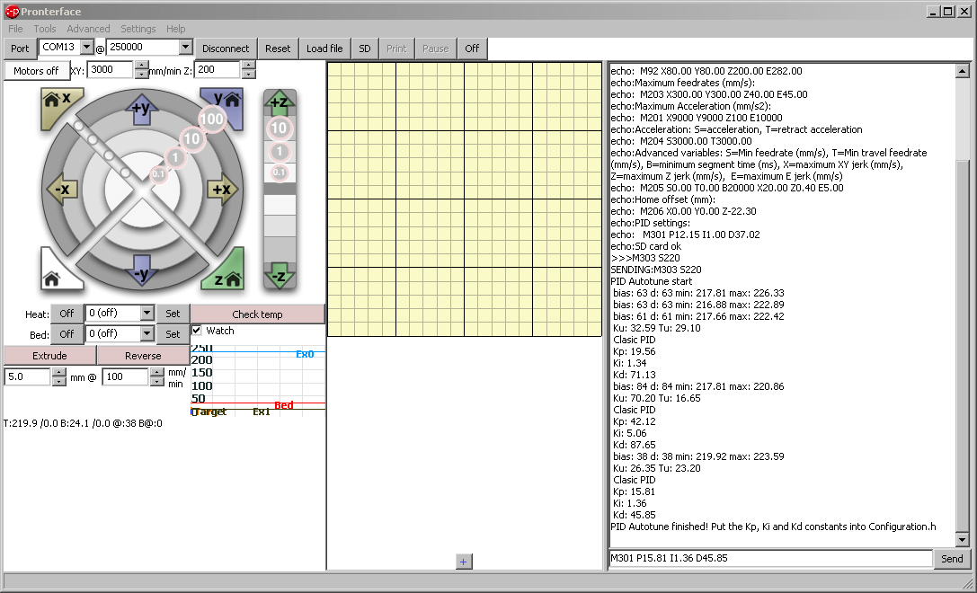 Screenshot aus Pronterface vom PID-Autotuning am Ultimaker 2