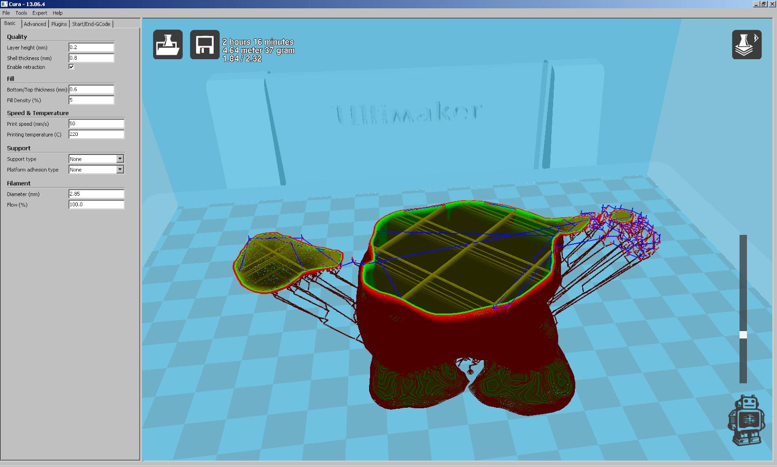 Screenshot aus Cura beim Slicen des Güggels mit Mesmixer Support