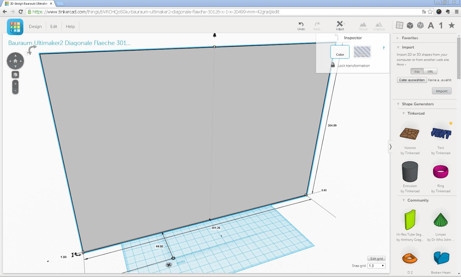 Screenshot der auf dem Ultimaker 2 maximal druckbaren Fläche mit 1 mm Stärke in Tinkercad
