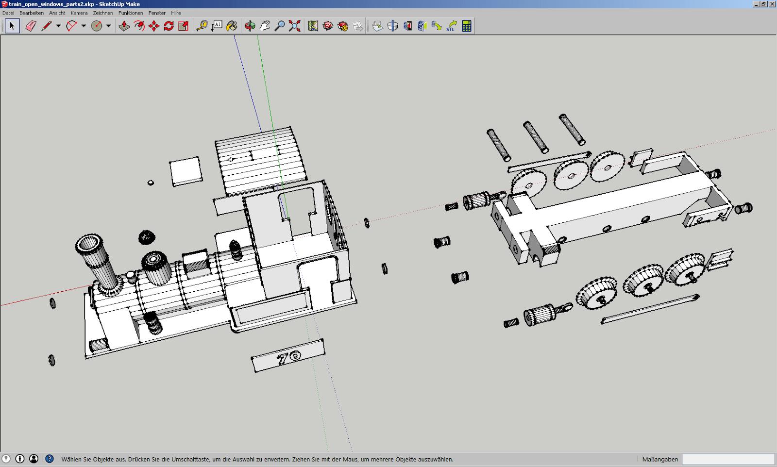 Screenshot der Einzelteile der Lokomotive in Sketchup