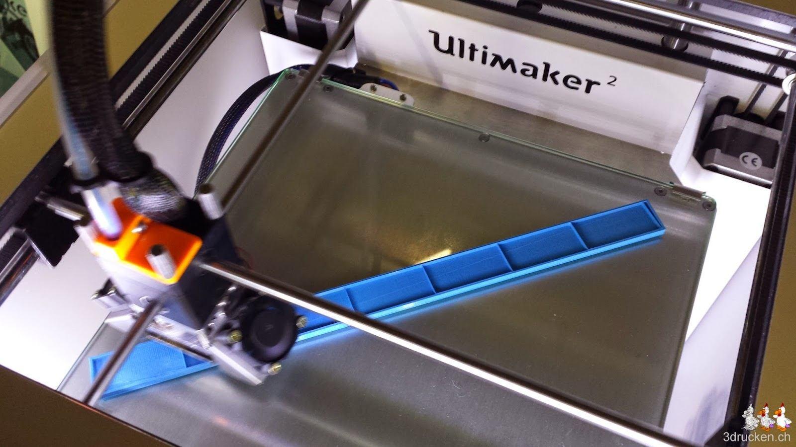 Foto während des Drucks des maximalen Quaders mit 20 mm Dicke im Ultimaker 2