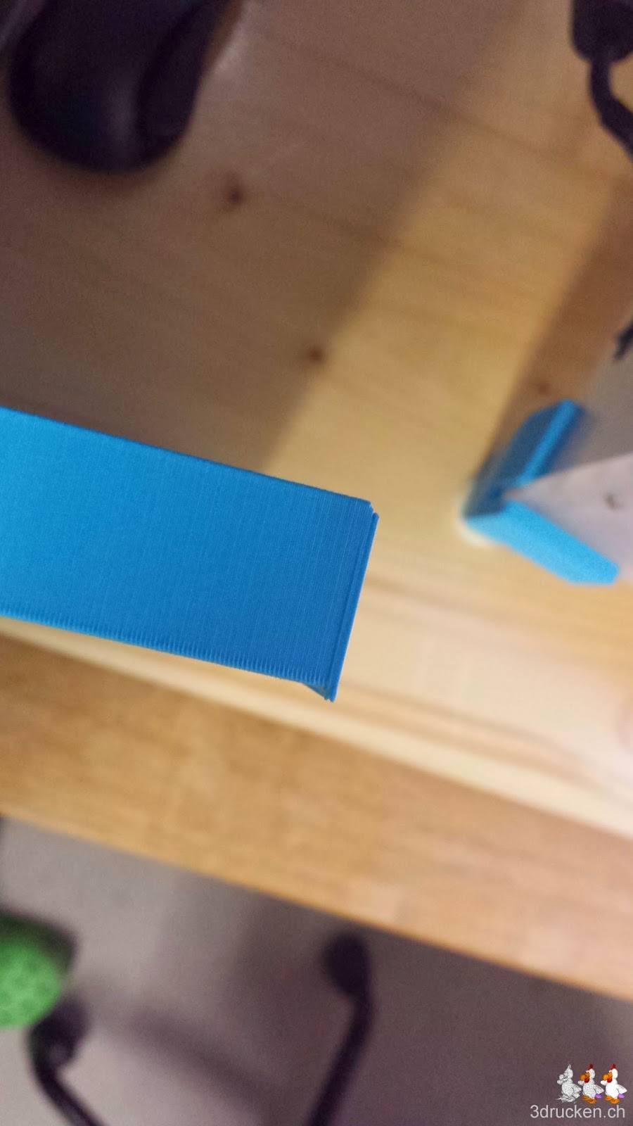Foto der versetzt gedruckten obersten Schichten am maximalen Quader von 20 mm Dicke