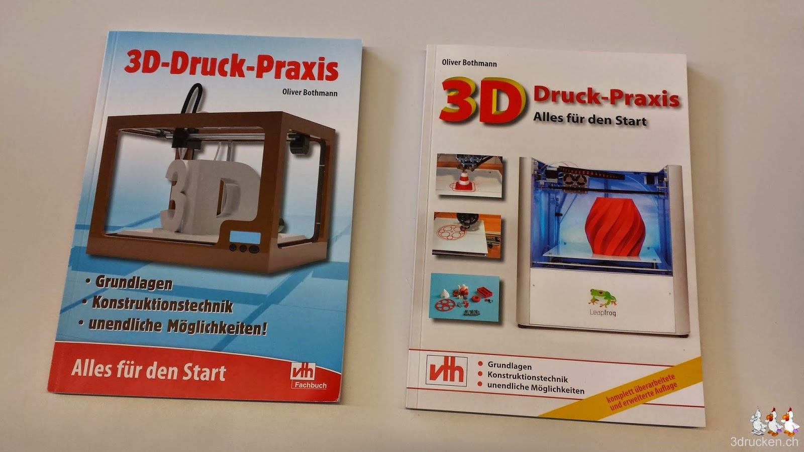 Foto der Covers beider Ausgaben des Buches '3D-Druck-Praxis: Alles für den Start' von Oliver Bothmann