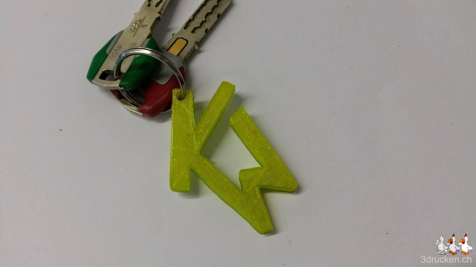 Foto der Initialen KW als Schlüsselanhänger an einem Schlüsselring mit zwei Schlüsseln
