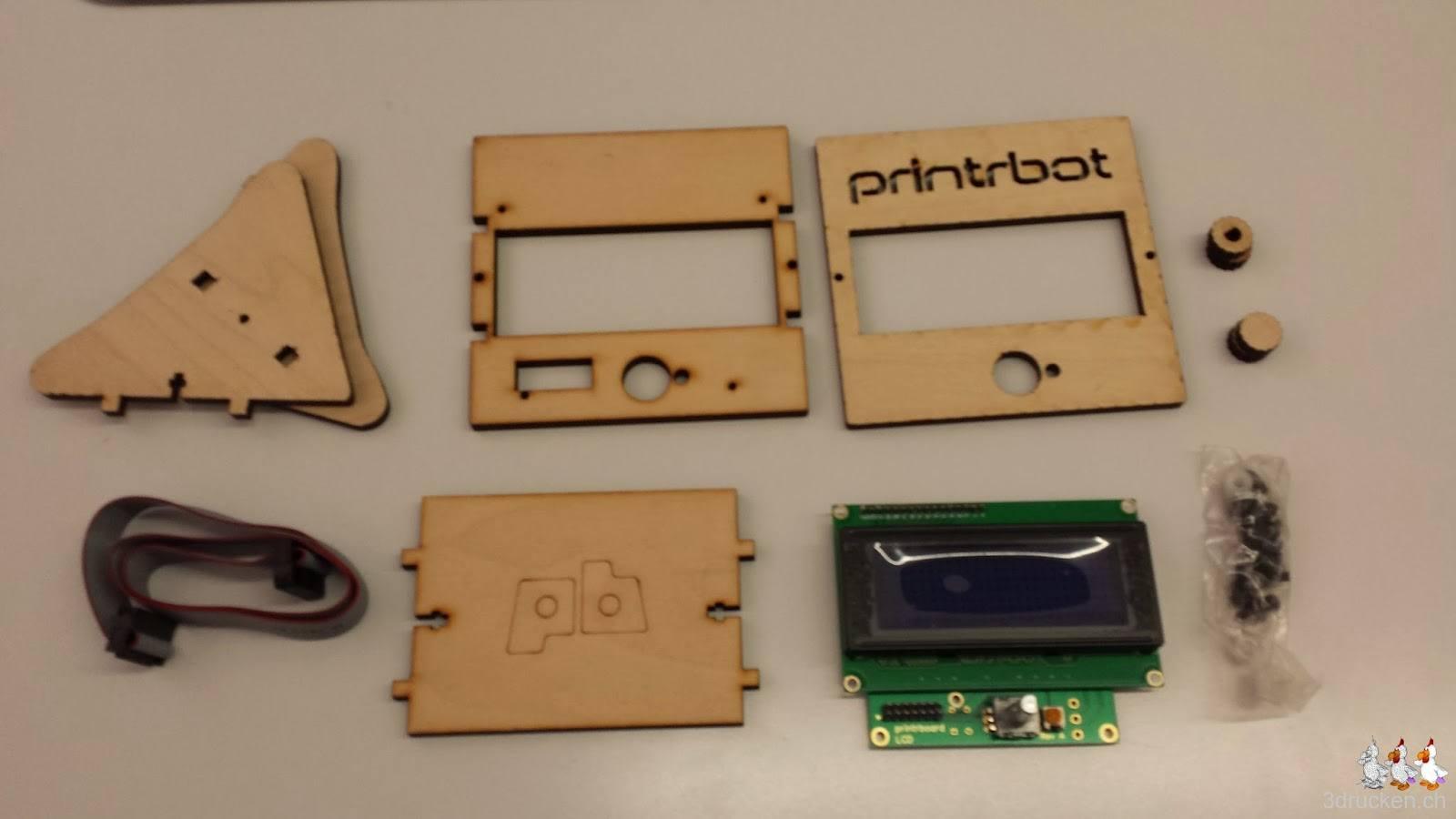 Foto der Einzelteile des LCD Control Kits des Printrbot Simple Metal