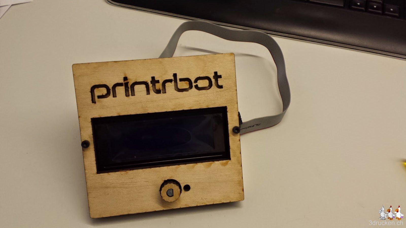 Foto des fertig zusammengebauten LCD Control Kits für den Printrbot Simple Metal