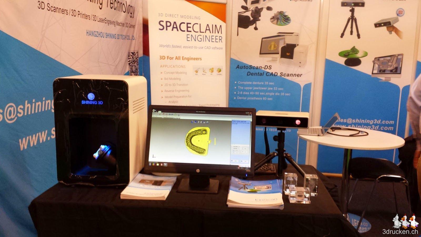 Foto vom Stand von Shining 3D Tech mit ihrem 3D-Scanner