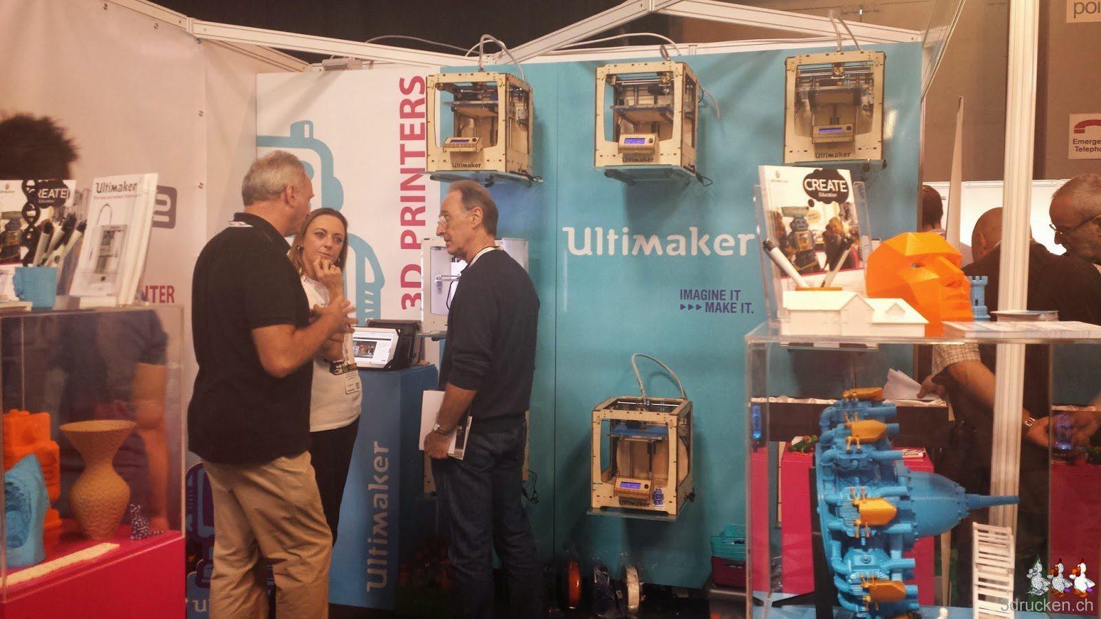 Foto der Produktionswand am Stand von Ultimaker an der TCT Show 2014 in Birmingham