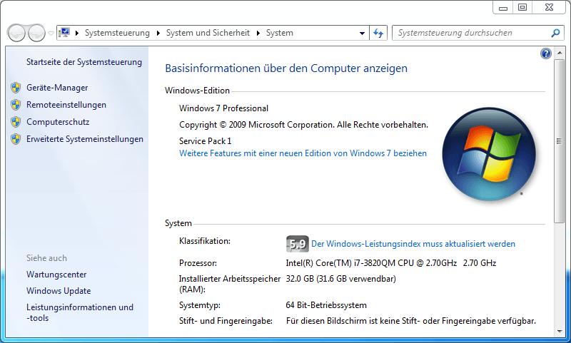 Screenshot von den Computerinformationen des Notebooks wo 32GB RAM als erkannt angezeigt werden