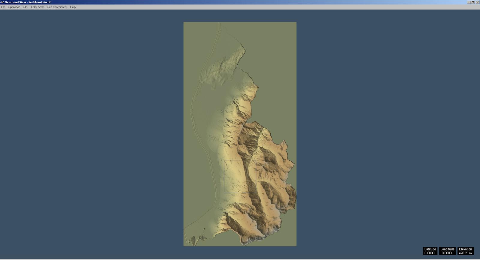 Screenshot der swissALTI3D Daten von Liechtenstein in 3DEM