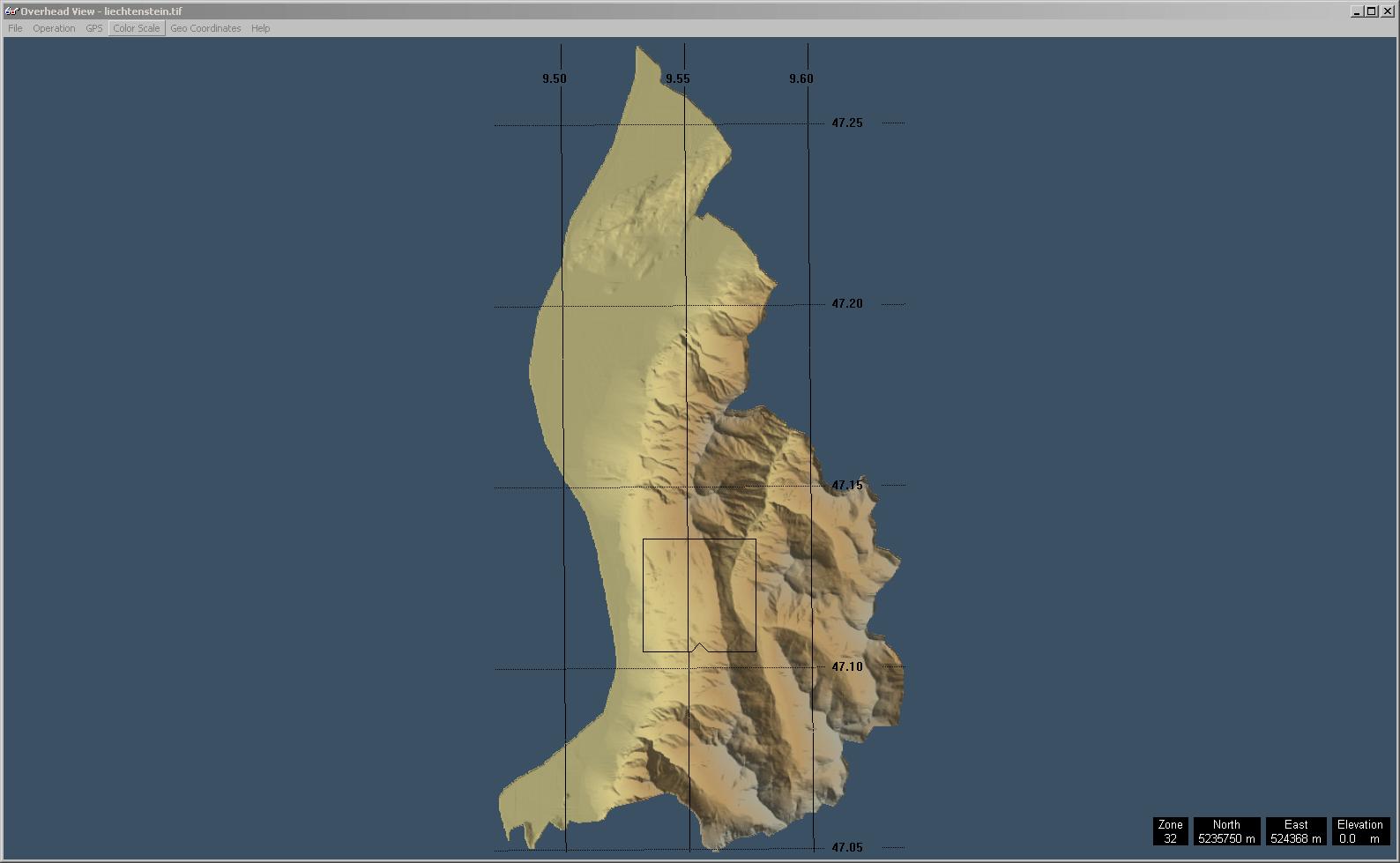 Screenshot aus 3DEM mit dem geladenen GeoTIFF von Liechtenstein