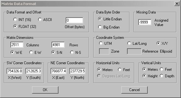 Screenshot von der Eingabemaske der Parameter für den Import im Matrix Data Format in 3DEM