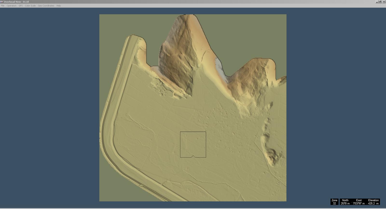 Screenshot des ersten Teilstücks von Liechtenstein geöffnet in 3DEM