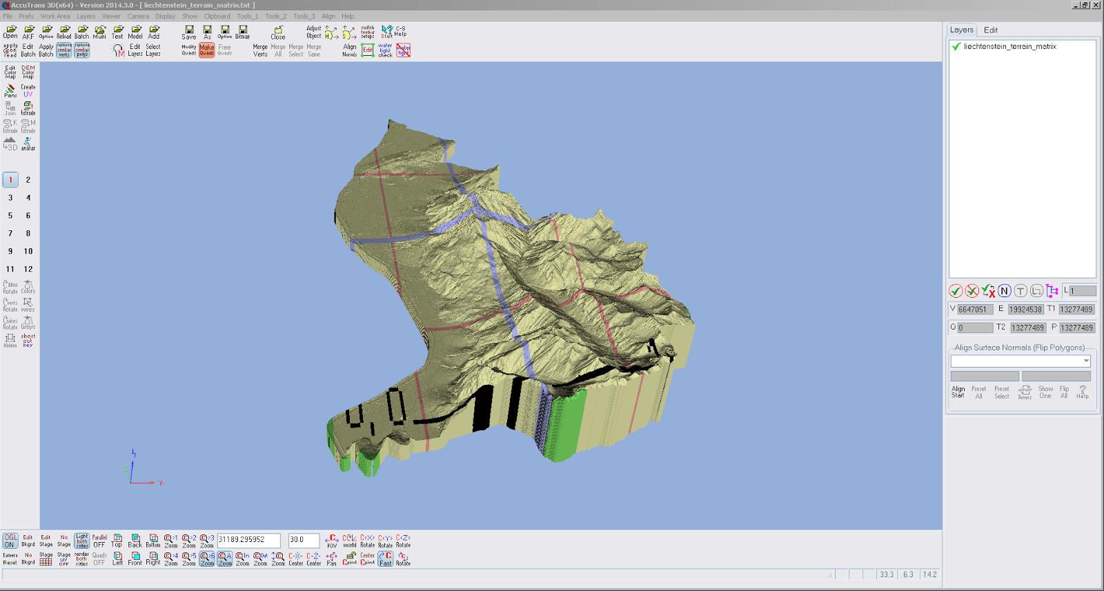 Screenshot nach der Umwandlung der Höhendaten von Liechtensteinvon 2D nach 3D in AccuTrans 3D