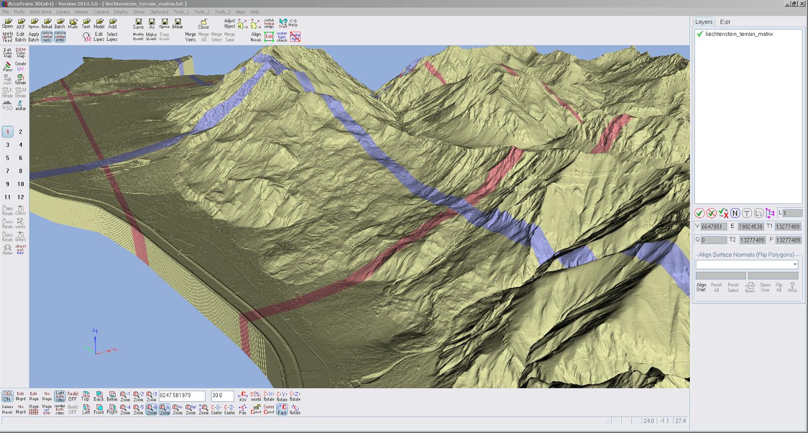 Screenshot eines vergrösserten Ausschnitts der swissALTI3D Daten von Liechtenstein aus AccuTrans 3D