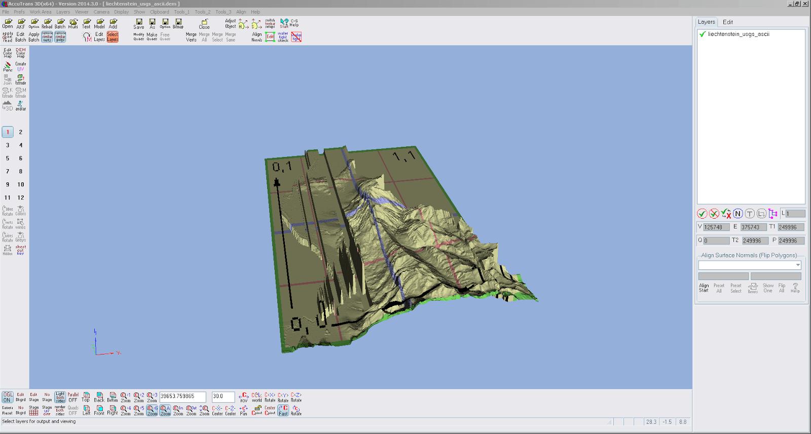 Screenshot der importierten DEM Daten in AccuTrans 3D, etwas stimmt mit der Darstellung nicht