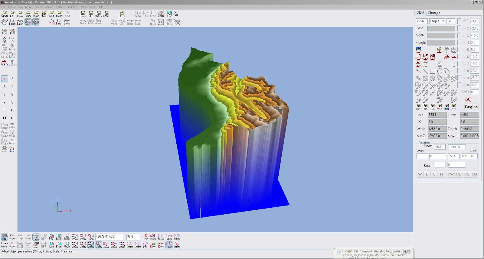 Screenshot der via ASCII File to DEM importierten Höhendaten von Liechtenstein aus AccuTrans 3D