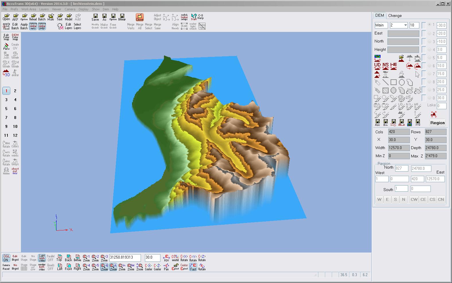Screenshot aus AccuTrans 3D mit der Darstellung der DEM Daten Liechtensteins