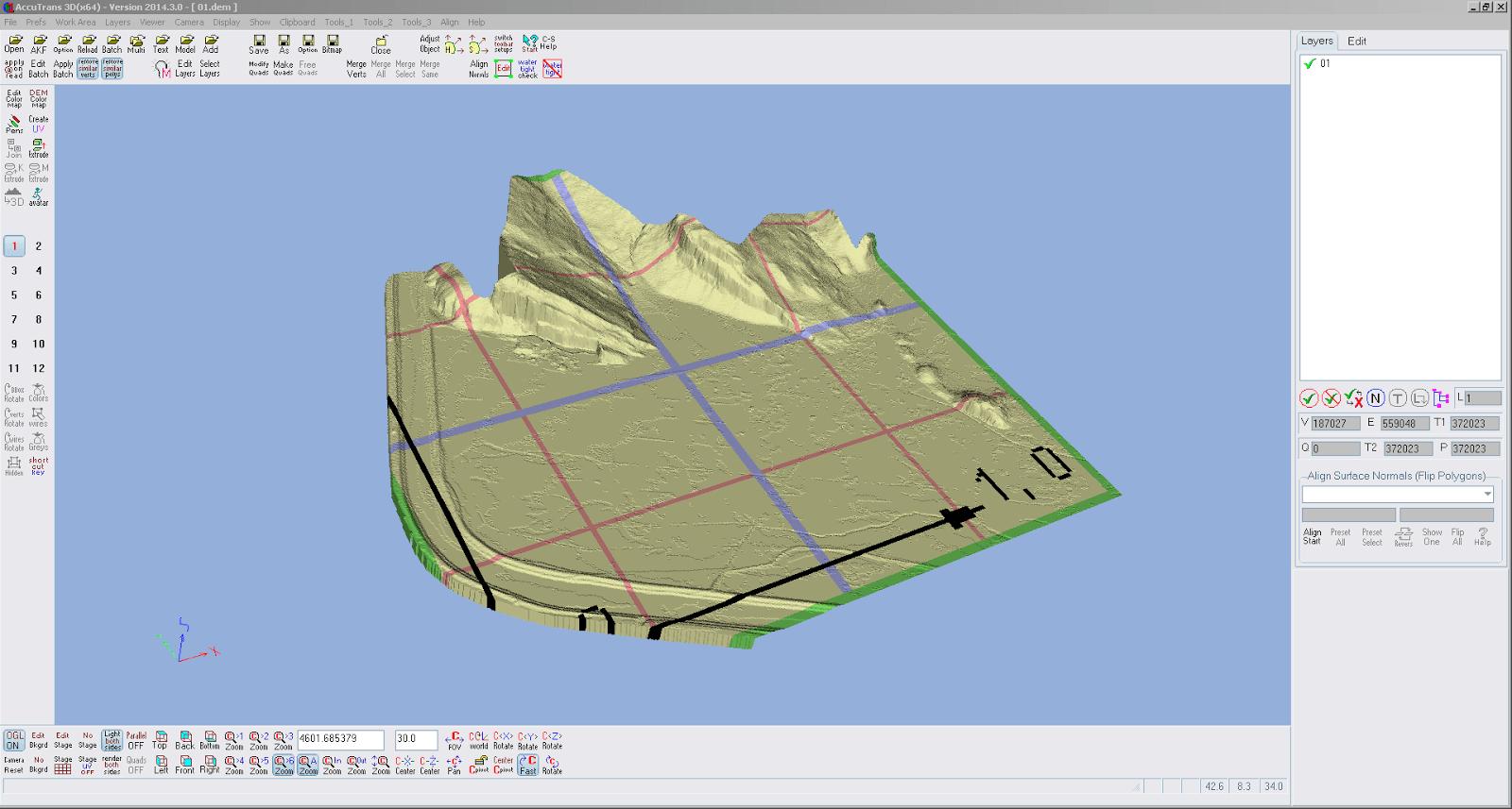 Screenshot nach der Umwandlung von 2D nach 3D des ersten Teilstücks in AccuTrans 3D