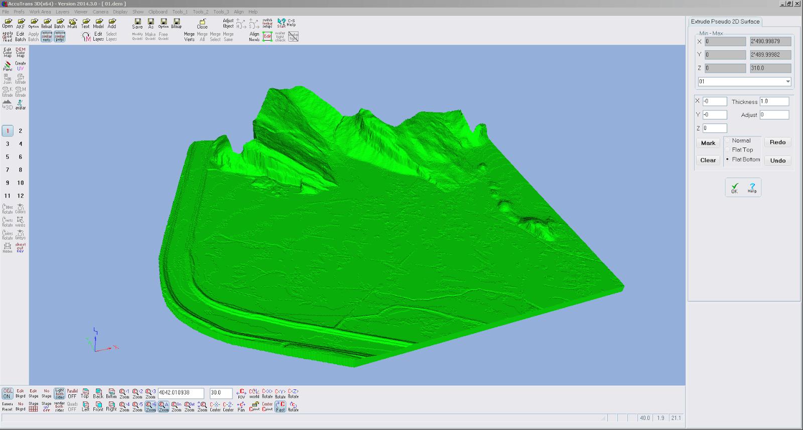 Screenshot von der Relieferstellung des ersten Teilstücks von Liechtenstein in AccuTrans 3D