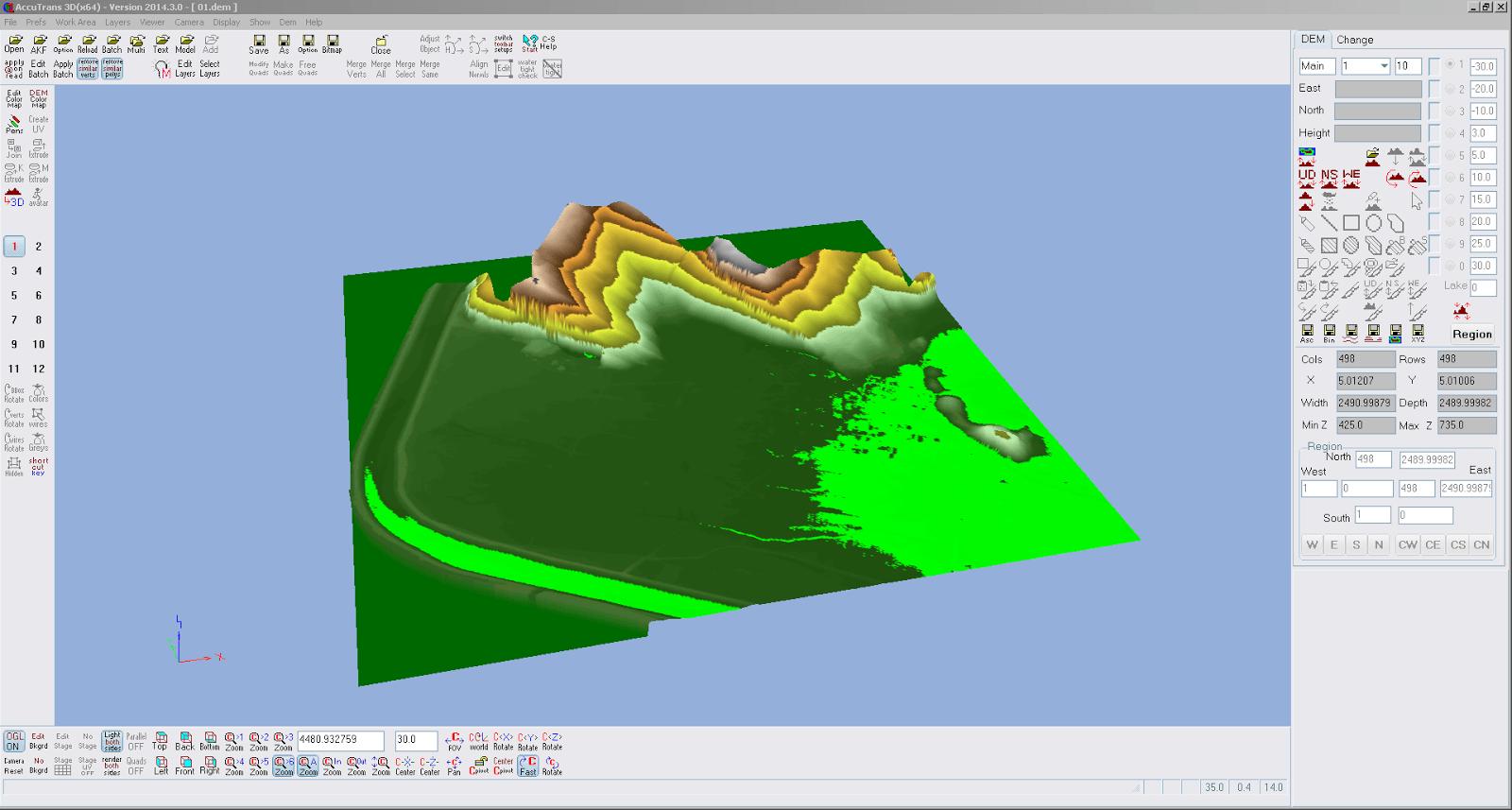 Screenshot des ersten Teilstücks von Liechtenstein in AccuTrans 3D geöffnet