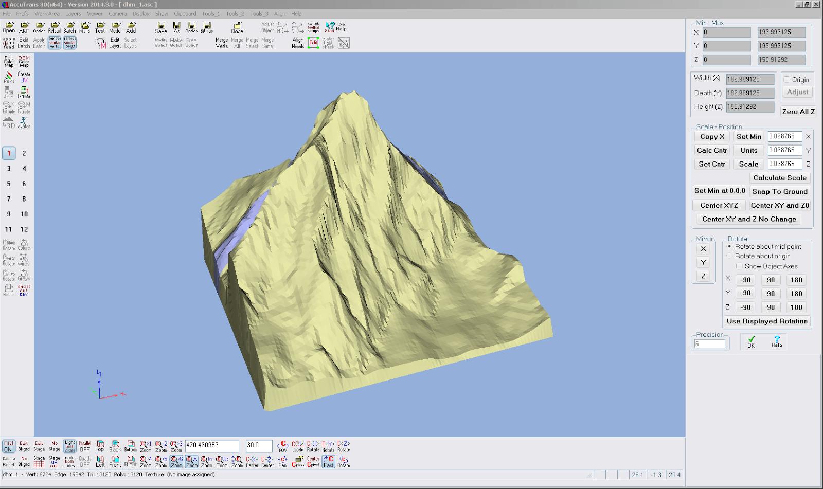 Screenshot aus AccuTrans 3D vom Skalieren des Modells auf 200 mm