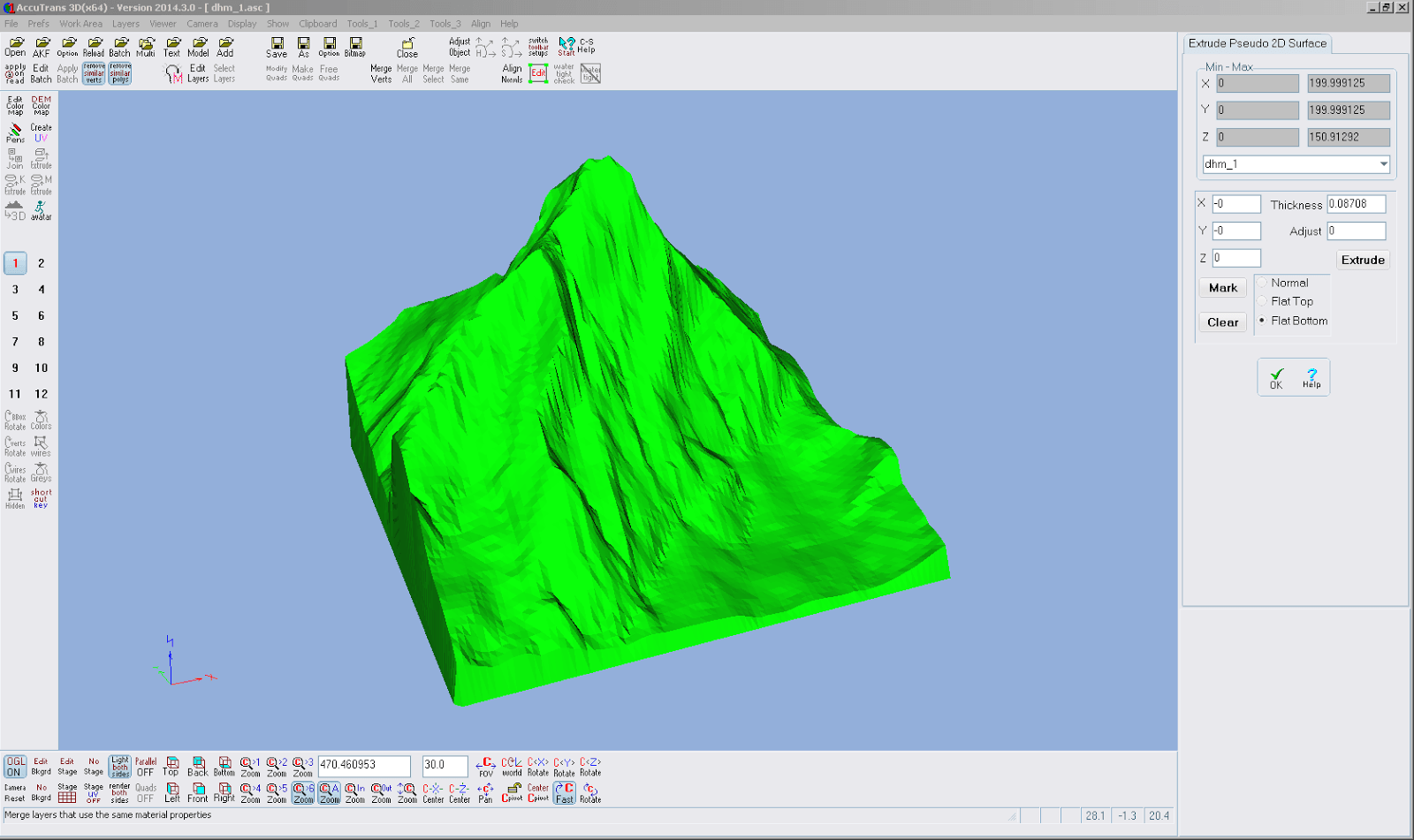 Screenshot vom Vorgang Extrude Pseudo 2D Surface aus AccuTrans 3D
