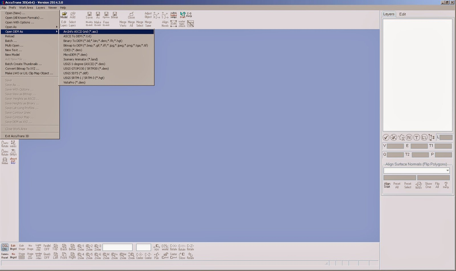 Screenshot aus AccuTrans 3D mit offenen Importmenüs
