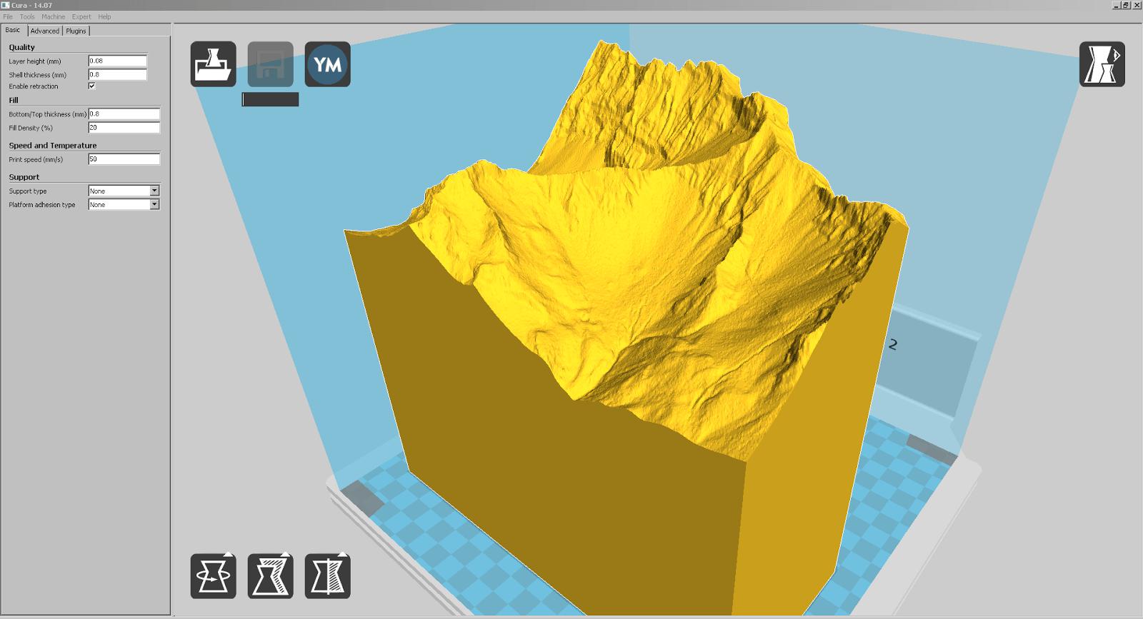 Screenshot eines der grössten Teile von Liechtenstein in Cura
