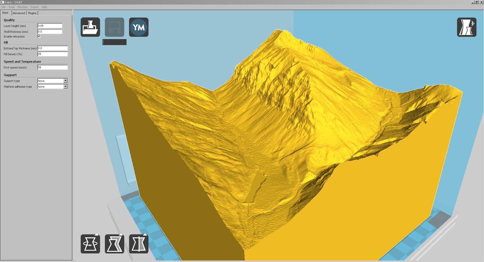 Screenshot eines Teilstücks von Liechtenstein mit interessanten Felsformationen in Cura