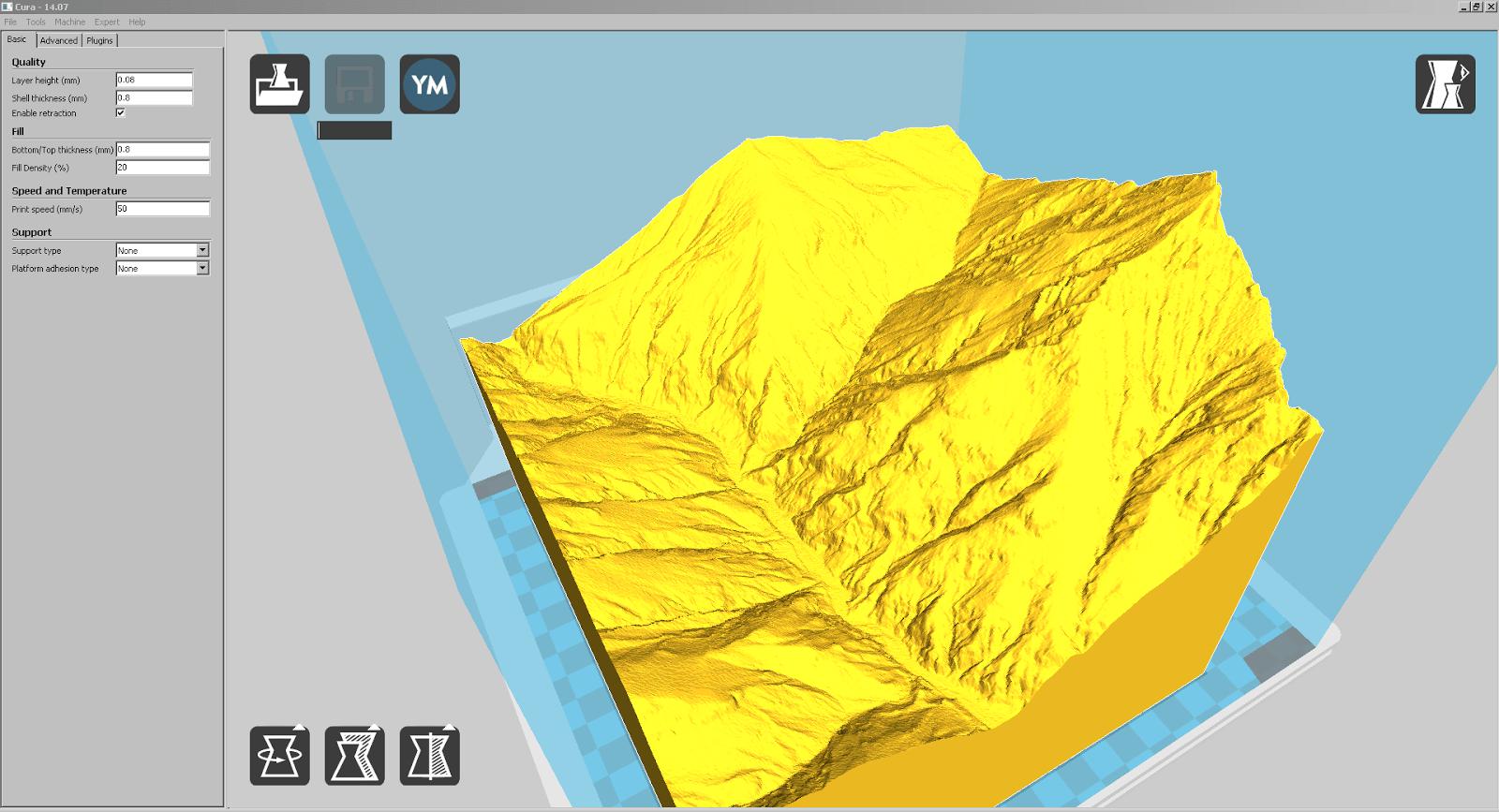 Screenshot eines Teilstücks von Liechtenstein mit viel sichtbarer Erosion in Cura