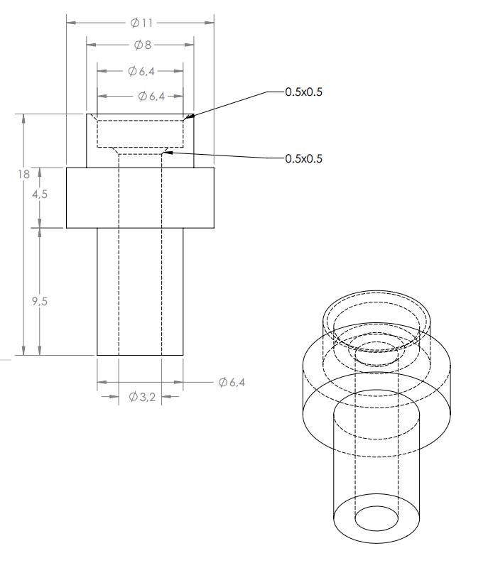 Zeichnung des Isolators von Ultimaker auf github veröffentlicht