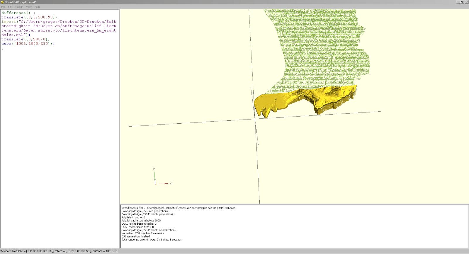 Screenshot aus OpenSCAD beim Versuch das Relief von Liechtenstein in Einzelteile zu schneiden
