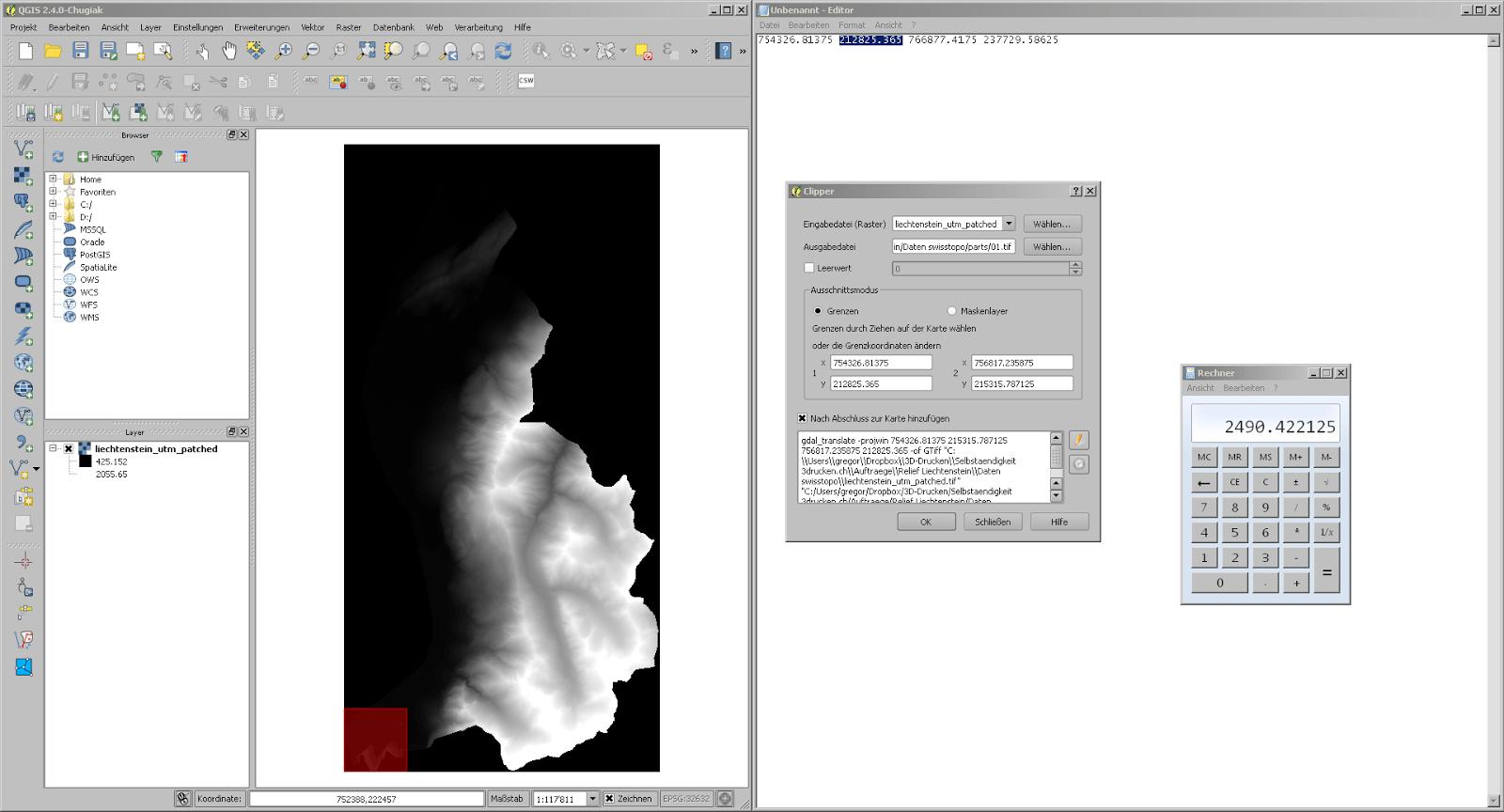 Screenshot vom Kacheln schneiden aus den swissALTI3D Daten von Liechtenstein in QGIS