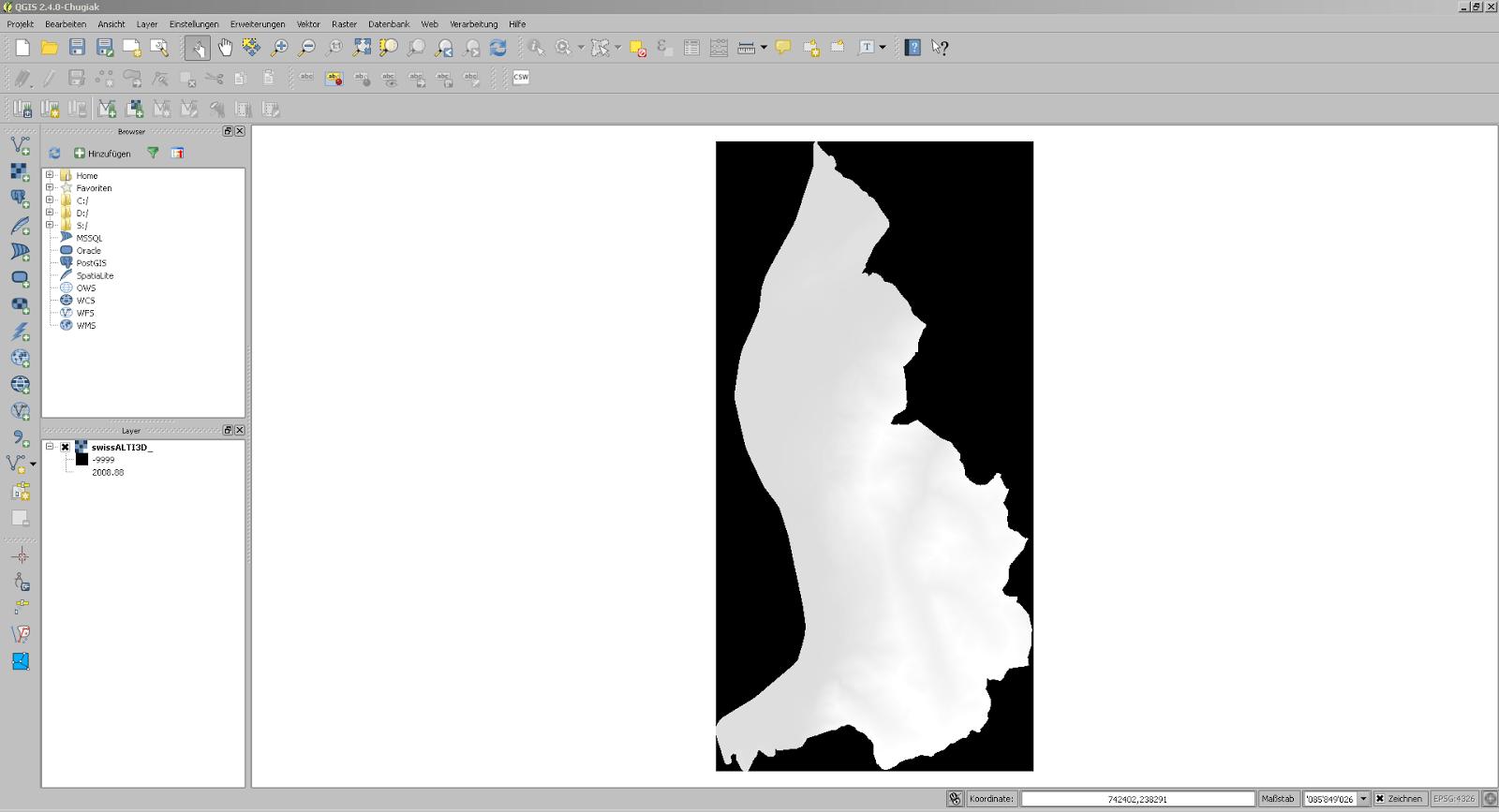 Screenshot aus QGIS mit importierten swissALTI3D Daten von Liechtenstein